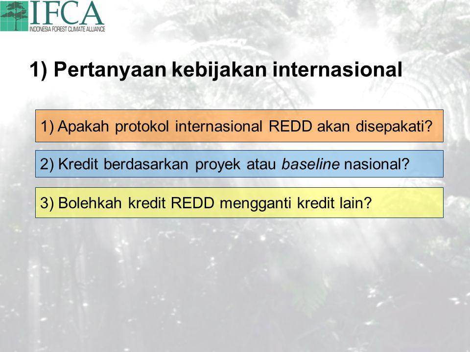 1) Pertanyaan kebijakan internasional 1) Apakah protokol internasional REDD akan disepakati? 2) Kredit berdasarkan proyek atau baseline nasional? 3) B