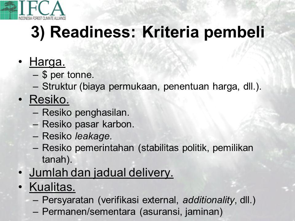 3) Readiness: Kriteria pembeli Harga. –$ per tonne. –Struktur (biaya permukaan, penentuan harga, dll.). Resiko. –Resiko penghasilan. –Resiko pasar kar