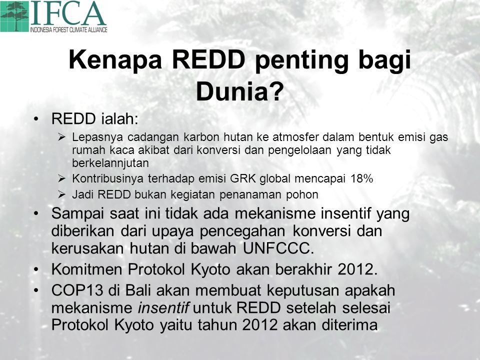 Kenapa REDD penting bagi Dunia? REDD ialah:  Lepasnya cadangan karbon hutan ke atmosfer dalam bentuk emisi gas rumah kaca akibat dari konversi dan pe