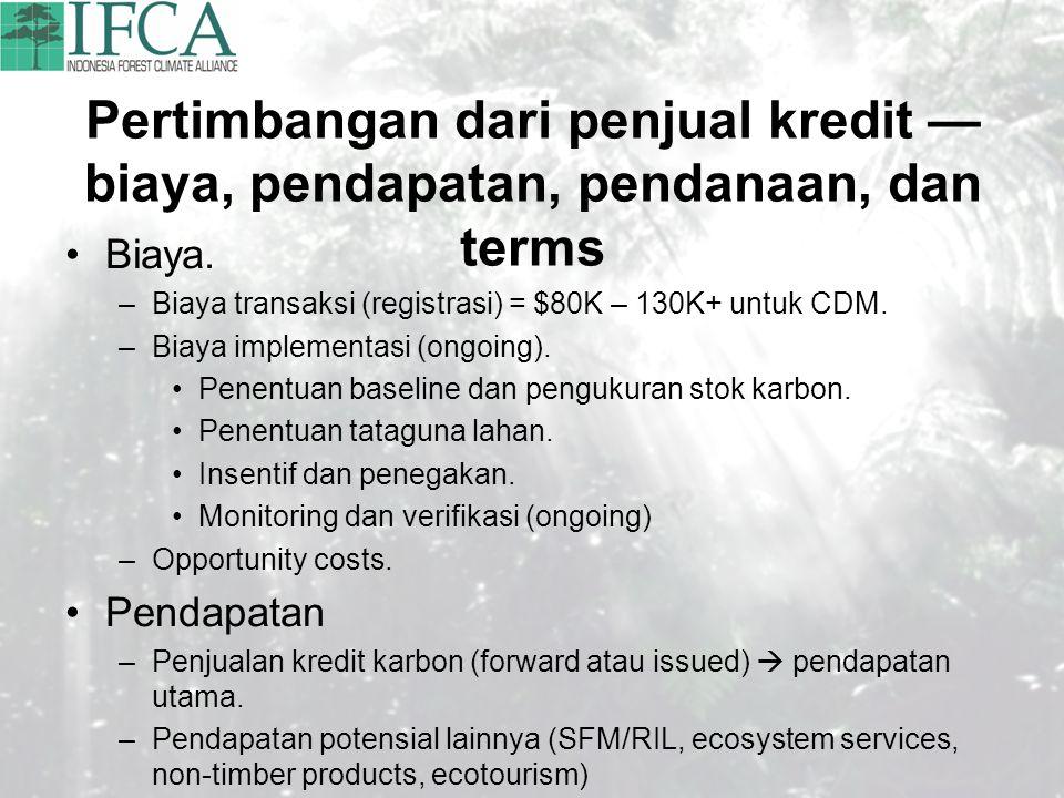 Pertimbangan dari penjual kredit — biaya, pendapatan, pendanaan, dan terms Biaya. –Biaya transaksi (registrasi) = $80K – 130K+ untuk CDM. –Biaya imple