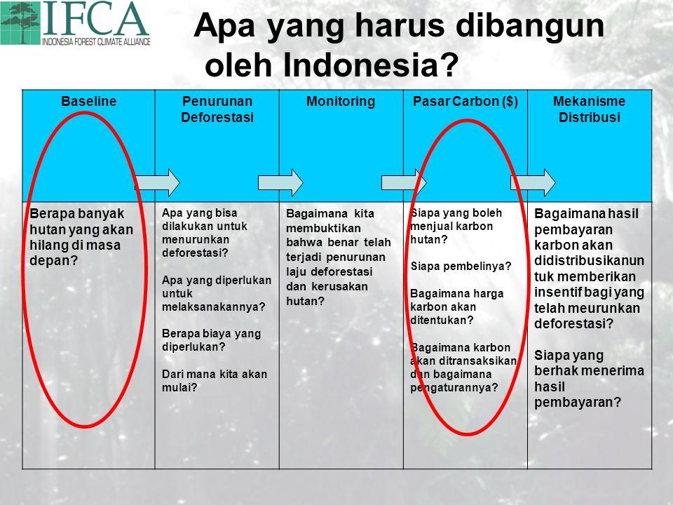 Apa yang harus dibangun oleh Indonesia? BaselinePenurunan Deforestasi MonitoringPasar Carbon ($)Mekanisme Distribusi Berapa banyak hutan yang akan hil