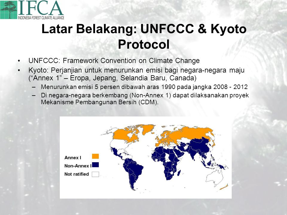 Latar Belakang: UNFCCC & Kyoto Protocol UNFCCC: Framework Convention on Climate Change Kyoto: Perjanjian untuk menurunkan emisi bagi negara-negara maj