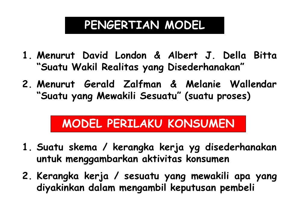 "PENGERTIAN MODEL 1.Menurut David London & Albert J. Della Bitta ""Suatu Wakil Realitas yang Disederhanakan"" 2.Menurut Gerald Zalfman & Melanie Wallenda"
