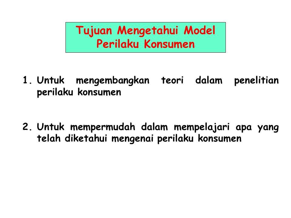 Tujuan Mengetahui Model Perilaku Konsumen 1.Untuk mengembangkan teori dalam penelitian perilaku konsumen 2.Untuk mempermudah dalam mempelajari apa yang telah diketahui mengenai perilaku konsumen