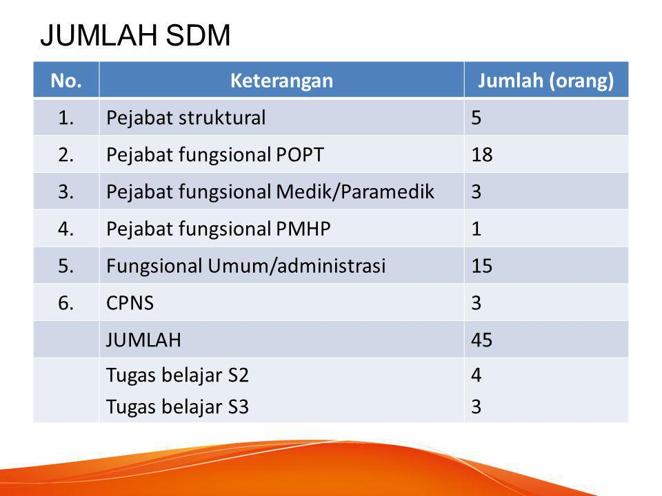 JUMLAH SDM No.KeteranganJumlah (orang) 1.Pejabat struktural5 2.Pejabat fungsional POPT18 3.Pejabat fungsional Medik/Paramedik3 4.Pejabat fungsional PM