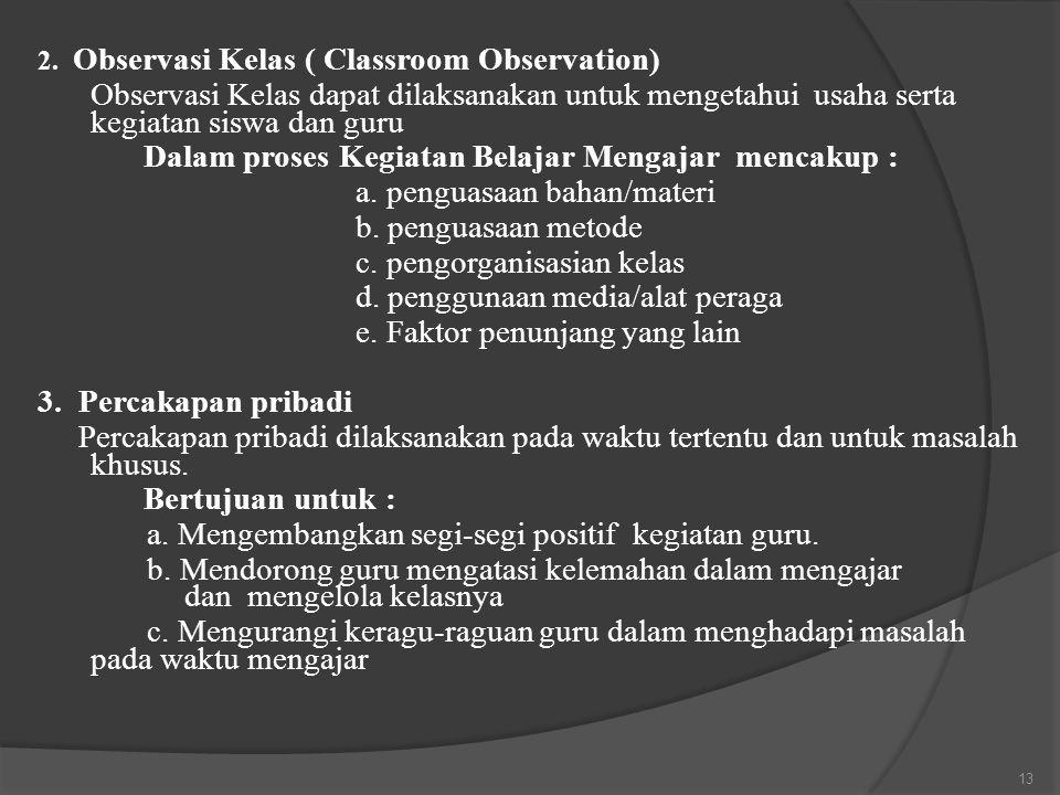 2. Observasi Kelas ( Classroom Observation) Observasi Kelas dapat dilaksanakan untuk mengetahui usaha serta kegiatan siswa dan guru Dalam proses Kegia
