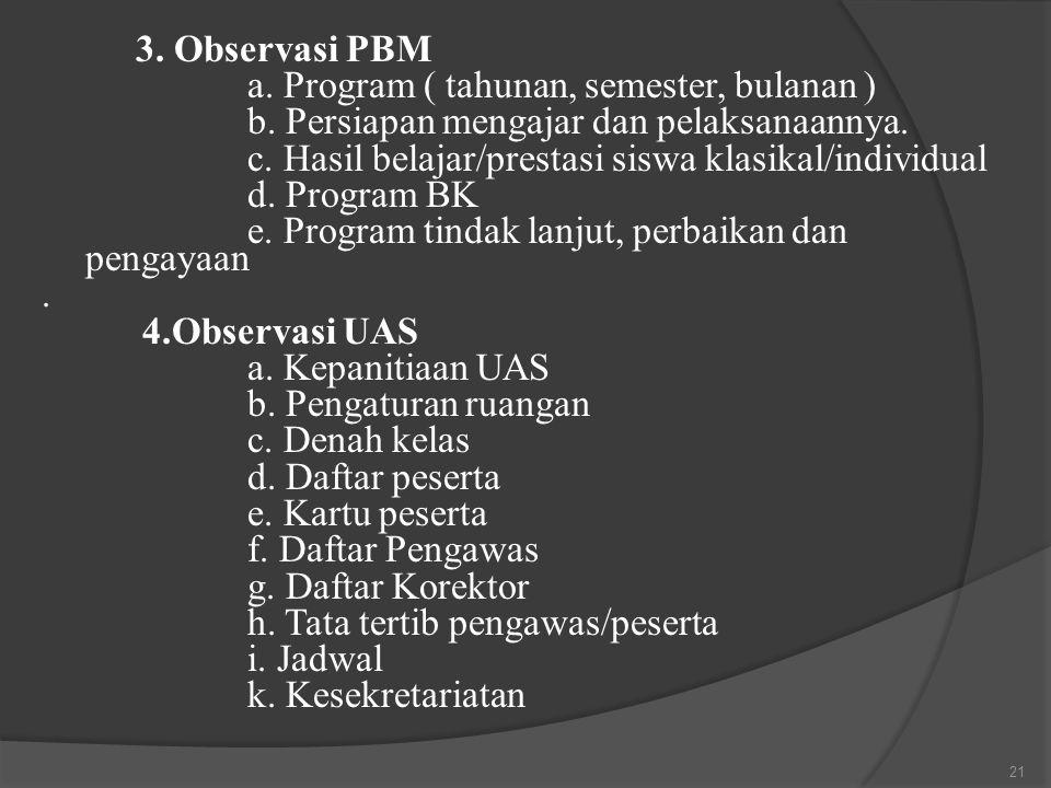 3. Observasi PBM a. Program ( tahunan, semester, bulanan ) b. Persiapan mengajar dan pelaksanaannya. c. Hasil belajar/prestasi siswa klasikal/individu