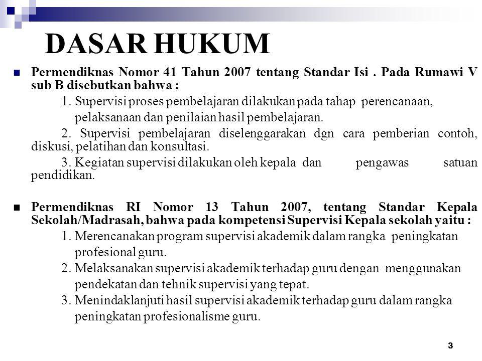 3 DASAR HUKUM Permendiknas Nomor 41 Tahun 2007 tentang Standar Isi. Pada Rumawi V sub B disebutkan bahwa : 1. Supervisi proses pembelajaran dilakukan