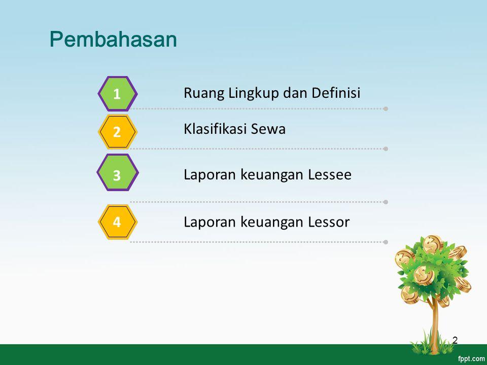 Pembahasan Ruang Lingkup dan Definisi 1 Klasifikasi Sewa 2 Laporan keuangan Lessee 3 Laporan keuangan Lessor 4 2