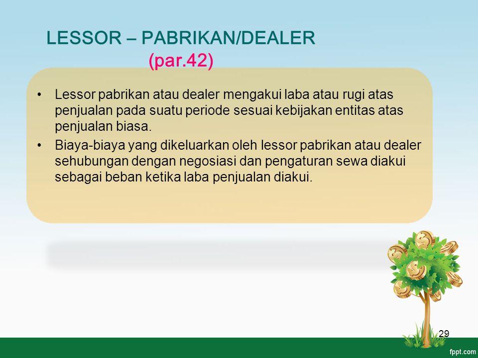 LESSOR – PABRIKAN/DEALER (par.42) 29 Lessor pabrikan atau dealer mengakui laba atau rugi atas penjualan pada suatu periode sesuai kebijakan entitas at