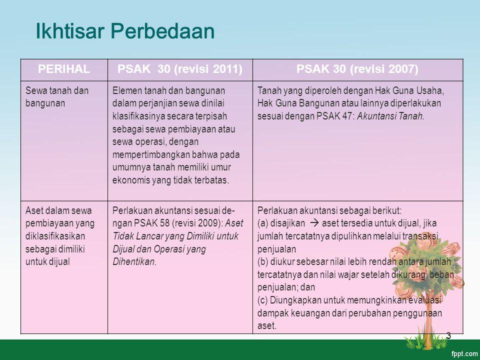 Ikhtisar Perbedaan 3 PERIHALPSAK 30 (revisi 2011)PSAK 30 (revisi 2007) Sewa tanah dan bangunan Elemen tanah dan bangunan dalam perjanjian sewa dinilai