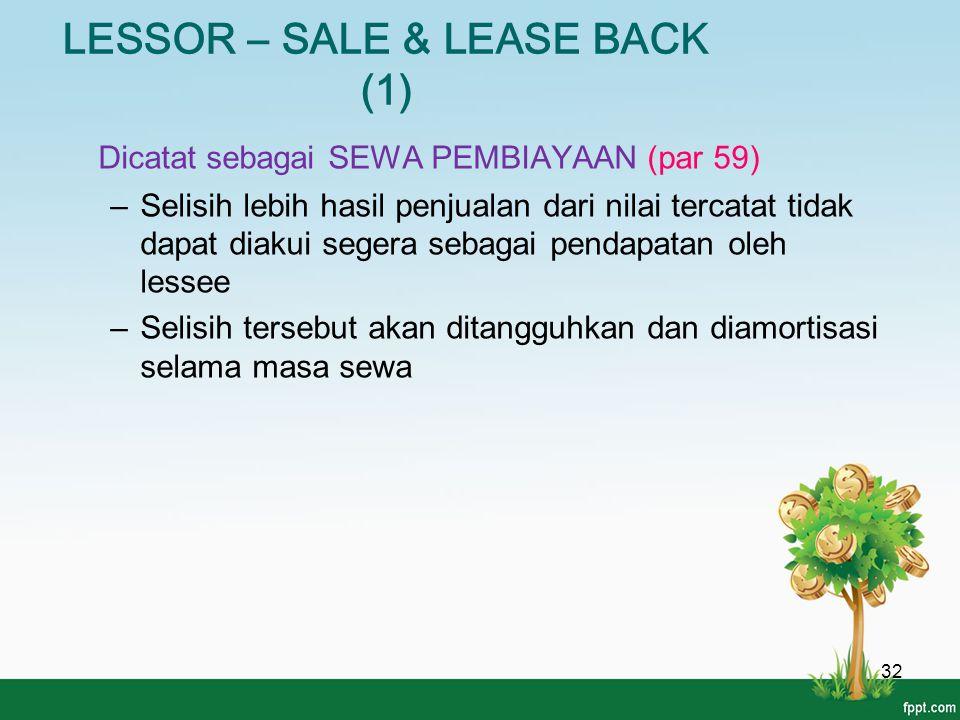 LESSOR – SALE & LEASE BACK (1) 32 Dicatat sebagai SEWA PEMBIAYAAN (par 59) –Selisih lebih hasil penjualan dari nilai tercatat tidak dapat diakui seger