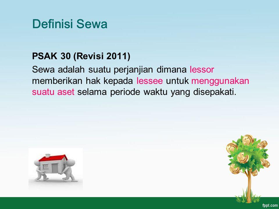 Definisi Sewa PSAK 30 (Revisi 2011) Sewa adalah suatu perjanjian dimana lessor memberikan hak kepada lessee untuk menggunakan suatu aset selama period