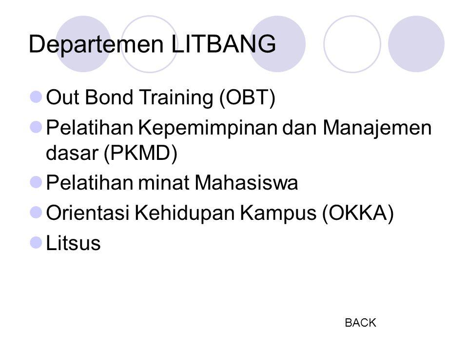 Departemen LITBANG Out Bond Training (OBT) Pelatihan Kepemimpinan dan Manajemen dasar (PKMD) Pelatihan minat Mahasiswa Orientasi Kehidupan Kampus (OKKA) Litsus BACK