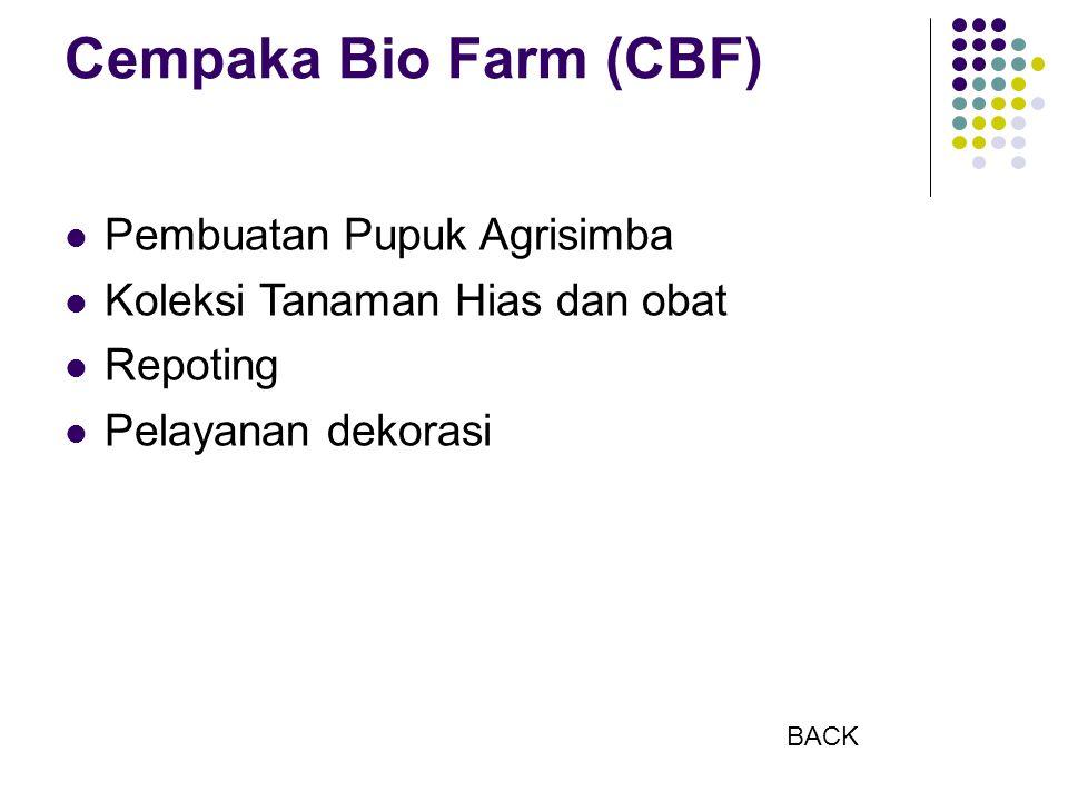 Cempaka Bio Farm (CBF) Pembuatan Pupuk Agrisimba Koleksi Tanaman Hias dan obat Repoting Pelayanan dekorasi BACK