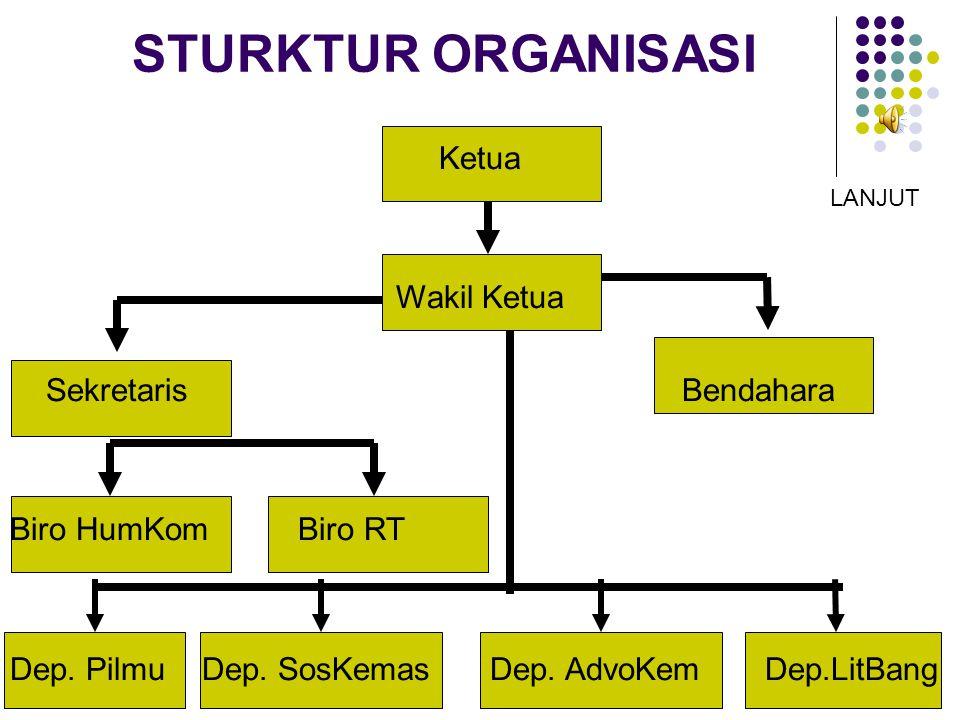 STURKTUR ORGANISASI Ketua Wakil Ketua Sekretaris Bendahara Biro HumKomBiro RT Dep.