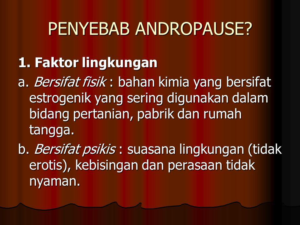 PENYEBAB ANDROPAUSE.1. Faktor lingkungan a.