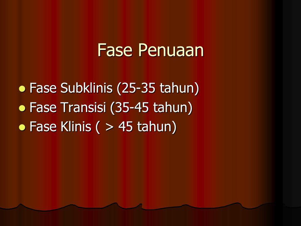 Fase Penuaan Fase Subklinis (25-35 tahun) Fase Subklinis (25-35 tahun) Fase Transisi (35-45 tahun) Fase Transisi (35-45 tahun) Fase Klinis ( > 45 tahun) Fase Klinis ( > 45 tahun)