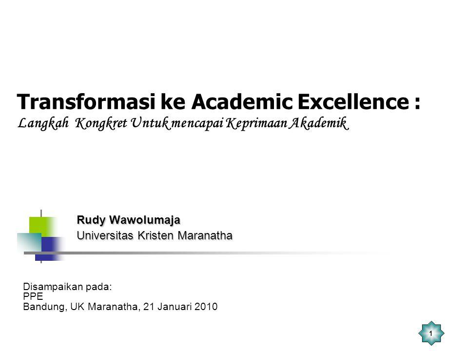 1 Transformasi ke Academic Excellence : Langkah Kongkret Untuk mencapai Keprimaan Akademik Rudy Wawolumaja Universitas Kristen Maranatha Disampaikan p