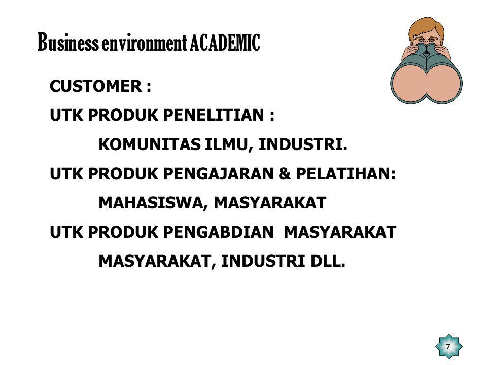 7 Business environment ACADEMIC CUSTOMER : UTK PRODUK PENELITIAN : KOMUNITAS ILMU, INDUSTRI. UTK PRODUK PENGAJARAN & PELATIHAN: MAHASISWA, MASYARAKAT