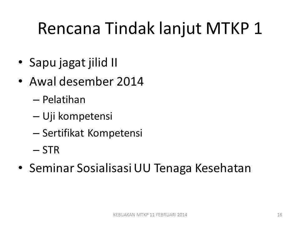 Rencana Tindak lanjut MTKP 1 Sapu jagat jilid II Awal desember 2014 – Pelatihan – Uji kompetensi – Sertifikat Kompetensi – STR Seminar Sosialisasi UU