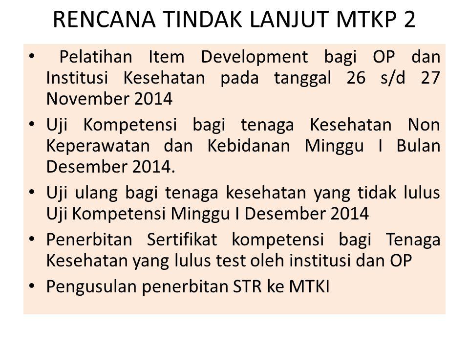 RENCANA TINDAK LANJUT MTKP 2 Pelatihan Item Development bagi OP dan Institusi Kesehatan pada tanggal 26 s/d 27 November 2014 Uji Kompetensi bagi tenag