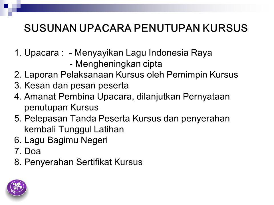 SUSUNAN UPACARA PENUTUPAN KURSUS 1. Upacara :- Menyayikan Lagu Indonesia Raya - Mengheningkan cipta 2. Laporan Pelaksanaan Kursus oleh Pemimpin Kursus