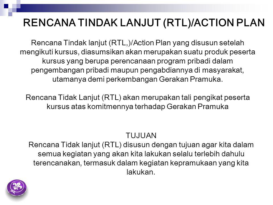 RENCANA TINDAK LANJUT (RTL)/ACTION PLAN Rencana Tindak lanjut (RTL,)/Action Plan yang disusun setelah mengikuti kursus, diasumsikan akan merupakan sua