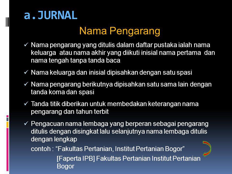 a.JURNAL Nama Pengarang Nama pengarang yang ditulis dalam daftar pustaka ialah nama keluarga atau nama akhir yang diikuti inisial nama pertama dan nam