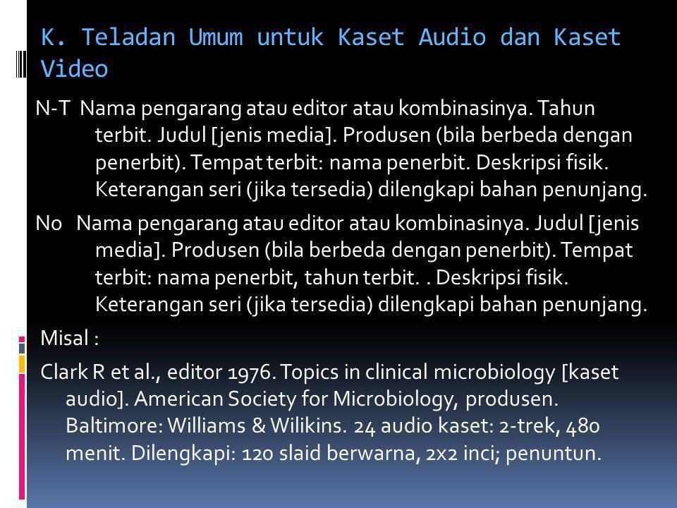 K. Teladan Umum untuk Kaset Audio dan Kaset Video N-T Nama pengarang atau editor atau kombinasinya. Tahun terbit. Judul [jenis media]. Produsen (bila