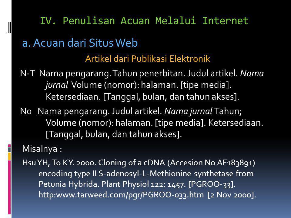 IV. Penulisan Acuan Melalui Internet a. Acuan dari Situs Web Artikel dari Publikasi Elektronik N-T Nama pengarang. Tahun penerbitan. Judul artikel. Na