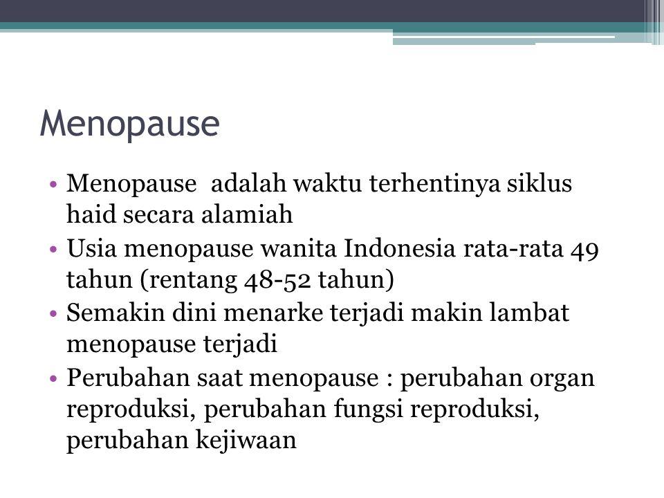 Menopause Menopause adalah waktu terhentinya siklus haid secara alamiah Usia menopause wanita Indonesia rata-rata 49 tahun (rentang 48-52 tahun) Semak