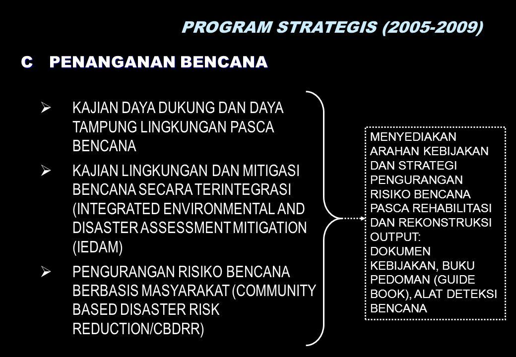 PROGRAM STRATEGIS (2005-2009) C PENANGANAN BENCANA  KAJIAN DAYA DUKUNG DAN DAYA TAMPUNG LINGKUNGAN PASCA BENCANA  KAJIAN LINGKUNGAN DAN MITIGASI BENCANA SECARA TERINTEGRASI (INTEGRATED ENVIRONMENTAL AND DISASTER ASSESSMENT MITIGATION (IEDAM)  PENGURANGAN RISIKO BENCANA BERBASIS MASYARAKAT (COMMUNITY BASED DISASTER RISK REDUCTION/CBDRR) MENYEDIAKAN ARAHAN KEBIJAKAN DAN STRATEGI PENGURANGAN RISIKO BENCANA PASCA REHABILITASI DAN REKONSTRUKSI OUTPUT: DOKUMEN KEBIJAKAN, BUKU PEDOMAN (GUIDE BOOK), ALAT DETEKSI BENCANA