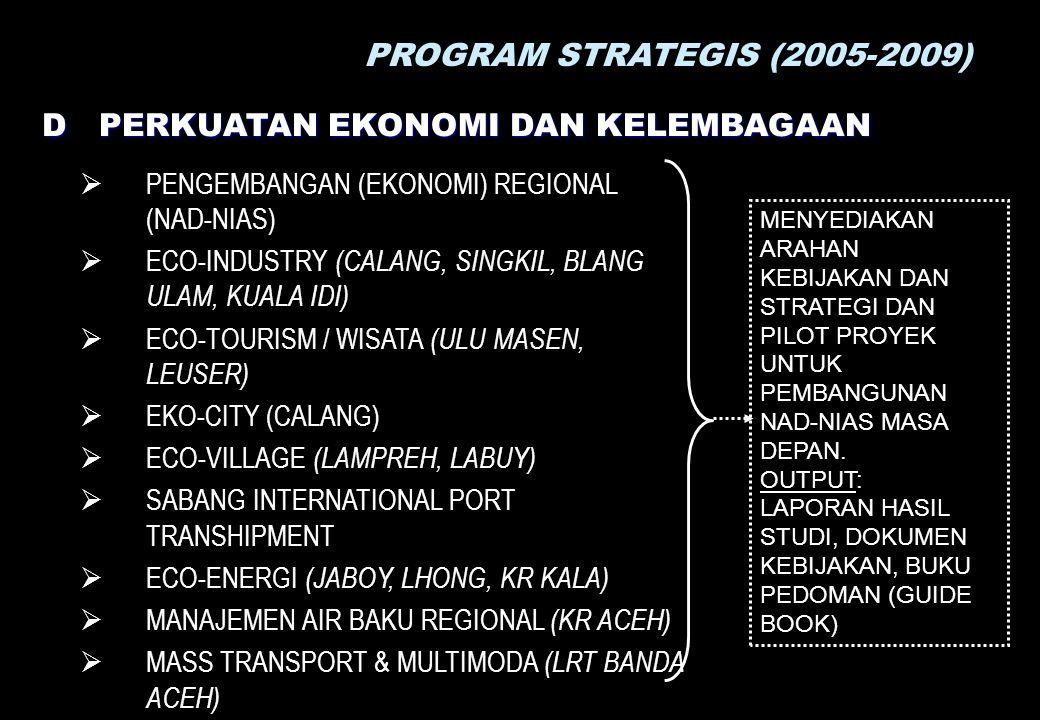 PROGRAM STRATEGIS (2005-2009) D PERKUATAN EKONOMI DAN KELEMBAGAAN  PENGEMBANGAN (EKONOMI) REGIONAL (NAD-NIAS)  ECO-INDUSTRY (CALANG, SINGKIL, BLANG ULAM, KUALA IDI)  ECO-TOURISM / WISATA (ULU MASEN, LEUSER)  EKO-CITY (CALANG)  ECO-VILLAGE (LAMPREH, LABUY)  SABANG INTERNATIONAL PORT TRANSHIPMENT  ECO-ENERGI (JABOY, LHONG, KR KALA)  MANAJEMEN AIR BAKU REGIONAL (KR ACEH)  MASS TRANSPORT & MULTIMODA (LRT BANDA ACEH) MENYEDIAKAN ARAHAN KEBIJAKAN DAN STRATEGI DAN PILOT PROYEK UNTUK PEMBANGUNAN NAD-NIAS MASA DEPAN.