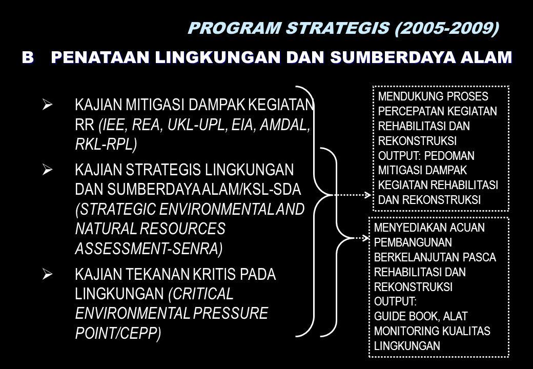 PROGRAM STRATEGIS (2005-2009) B PENATAAN LINGKUNGAN DAN SUMBERDAYA ALAM  KAJIAN MITIGASI DAMPAK KEGIATAN RR (IEE, REA, UKL-UPL, EIA, AMDAL, RKL-RPL)  KAJIAN STRATEGIS LINGKUNGAN DAN SUMBERDAYA ALAM/KSL-SDA (STRATEGIC ENVIRONMENTAL AND NATURAL RESOURCES ASSESSMENT-SENRA)  KAJIAN TEKANAN KRITIS PADA LINGKUNGAN (CRITICAL ENVIRONMENTAL PRESSURE POINT/CEPP) MENYEDIAKAN ACUAN PEMBANGUNAN BERKELANJUTAN PASCA REHABILITASI DAN REKONSTRUKSI OUTPUT: GUIDE BOOK, ALAT MONITORING KUALITAS LINGKUNGAN MENDUKUNG PROSES PERCEPATAN KEGIATAN REHABILITASI DAN REKONSTRUKSI OUTPUT: PEDOMAN MITIGASI DAMPAK KEGIATAN REHABILITASI DAN REKONSTRUKSI