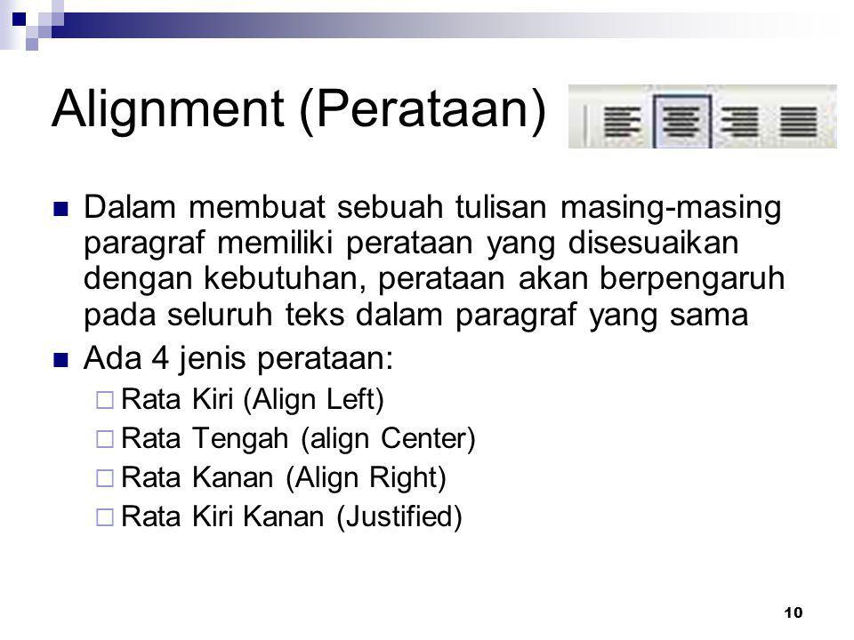 10 Alignment (Perataan) Dalam membuat sebuah tulisan masing-masing paragraf memiliki perataan yang disesuaikan dengan kebutuhan, perataan akan berpeng