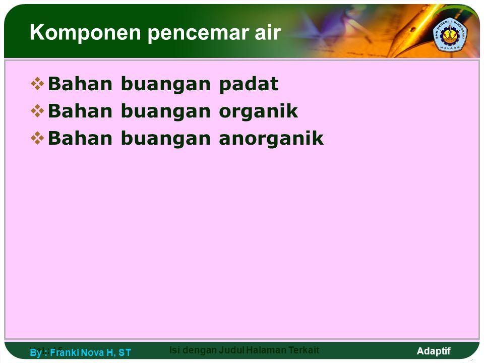 Adaptif Hal.: 15 Isi dengan Judul Halaman Terkait Komponen pencemar air  Bahan buangan padat  Bahan buangan organik  Bahan buangan anorganik By : F