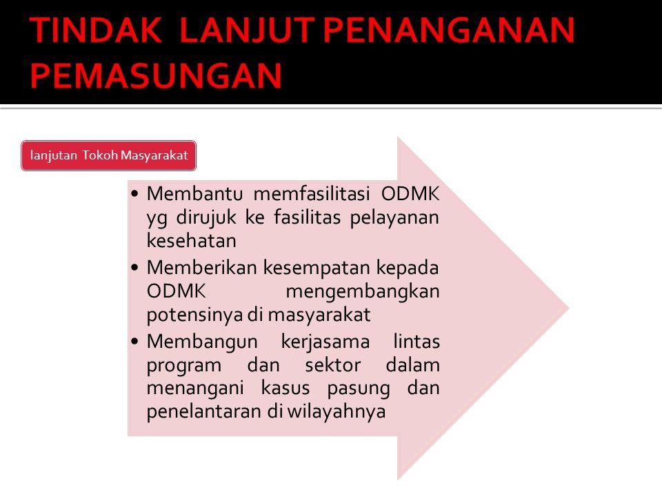 Membantu memfasilitasi ODMK yg dirujuk ke fasilitas pelayanan kesehatan Memberikan kesempatan kepada ODMK mengembangkan potensinya di masyarakat Memba