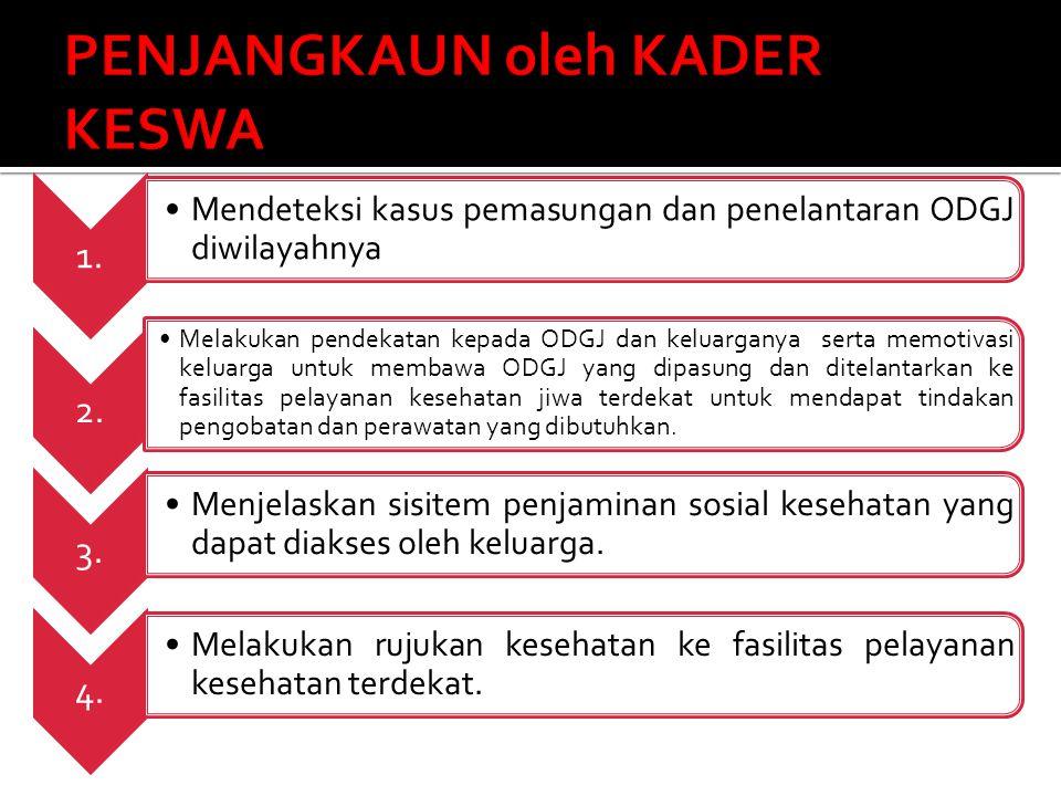 1. Mendeteksi kasus pemasungan dan penelantaran ODGJ diwilayahnya 2. Melakukan pendekatan kepada ODGJ dan keluarganya serta memotivasi keluarga untuk
