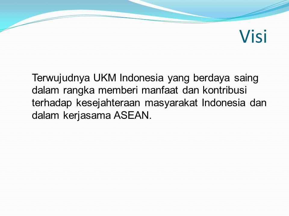 Visi Terwujudnya UKM Indonesia yang berdaya saing dalam rangka memberi manfaat dan kontribusi terhadap kesejahteraan masyarakat Indonesia dan dalam ke