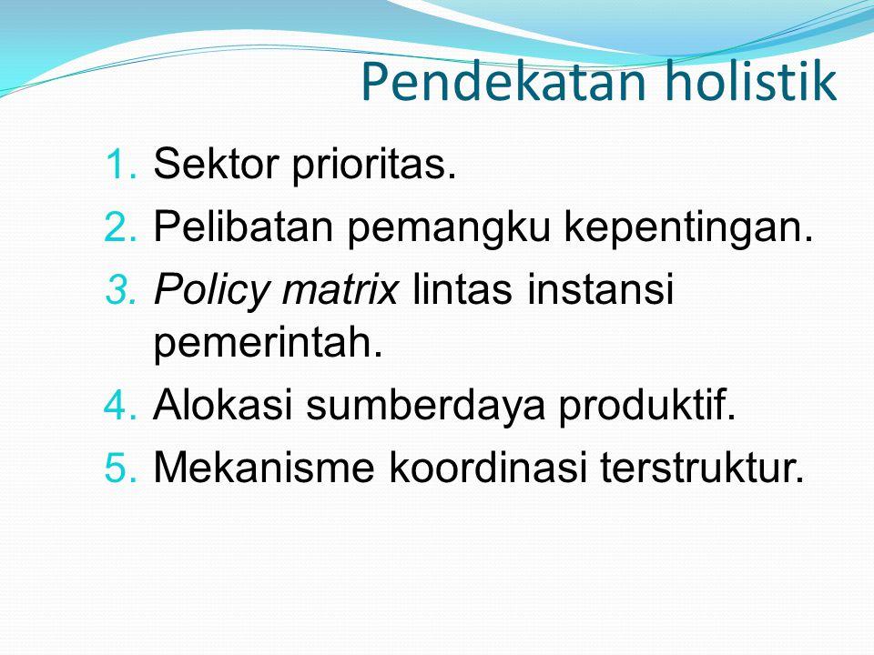 Pendekatan holistik 1. Sektor prioritas. 2. Pelibatan pemangku kepentingan. 3. Policy matrix lintas instansi pemerintah. 4. Alokasi sumberdaya produkt