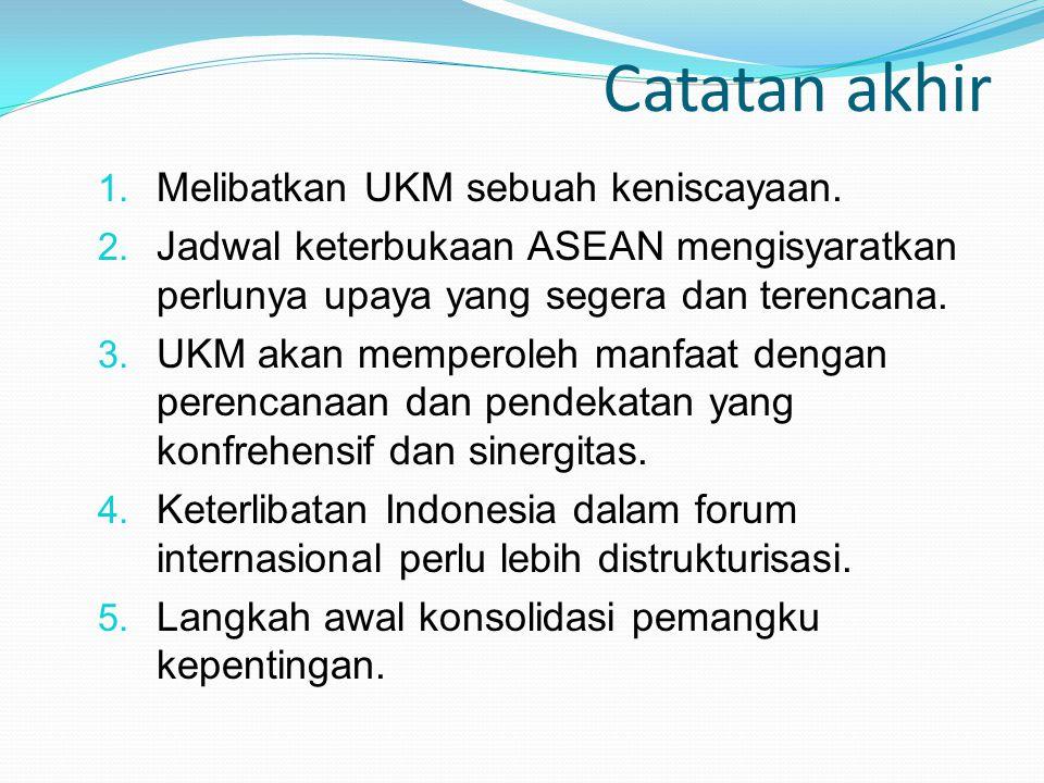 Catatan akhir 1. Melibatkan UKM sebuah keniscayaan. 2. Jadwal keterbukaan ASEAN mengisyaratkan perlunya upaya yang segera dan terencana. 3. UKM akan m