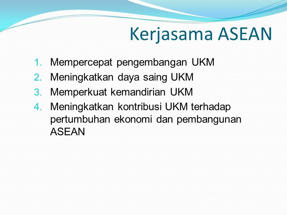 Kerjasama ASEAN 1. Mempercepat pengembangan UKM 2. Meningkatkan daya saing UKM 3. Memperkuat kemandirian UKM 4. Meningkatkan kontribusi UKM terhadap p