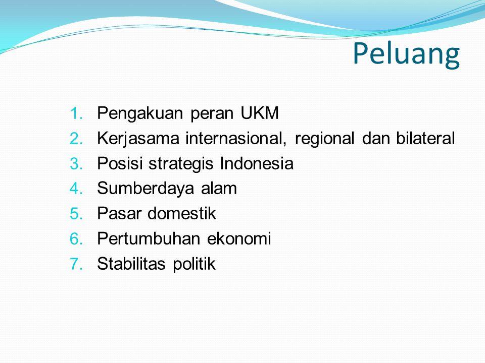 Peluang 1. Pengakuan peran UKM 2. Kerjasama internasional, regional dan bilateral 3. Posisi strategis Indonesia 4. Sumberdaya alam 5. Pasar domestik 6