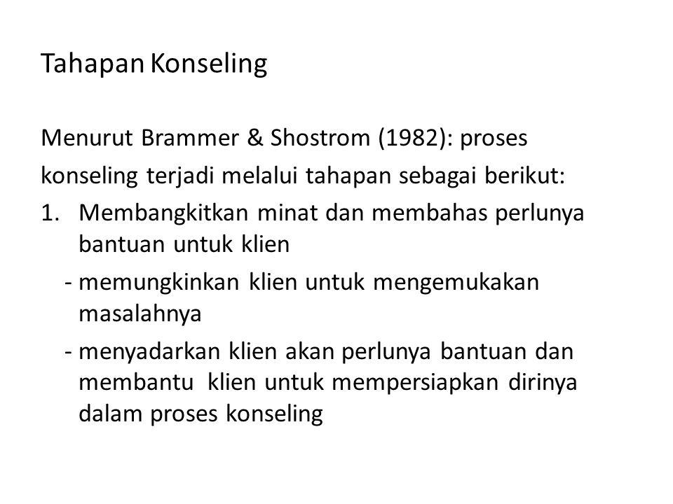 Tahapan Konseling Menurut Brammer & Shostrom (1982): proses konseling terjadi melalui tahapan sebagai berikut: 1.Membangkitkan minat dan membahas perl