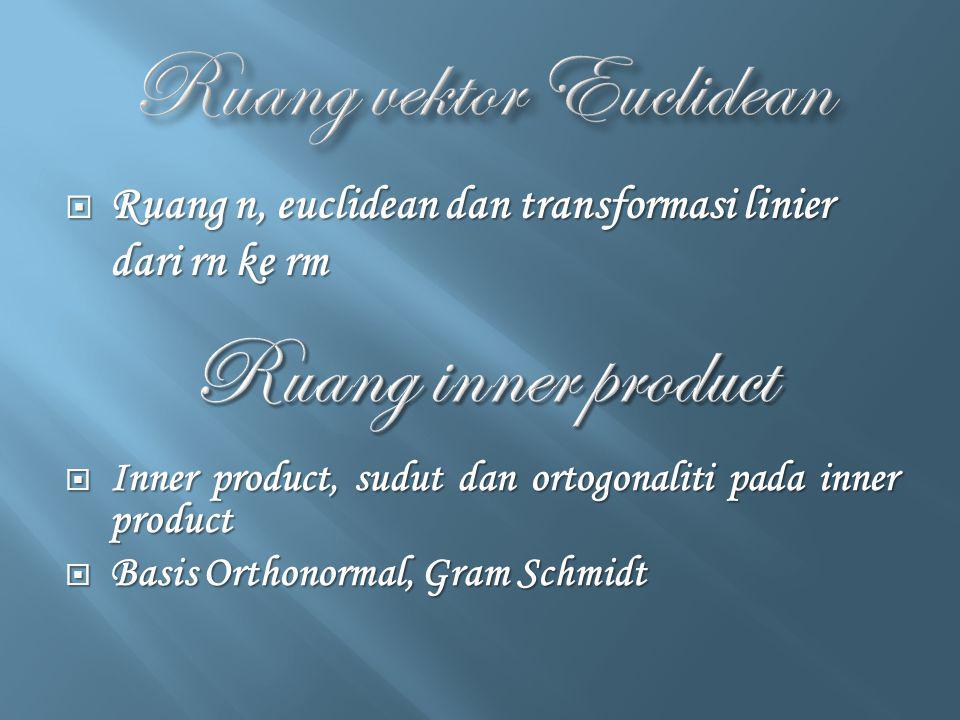  Ruang n, euclidean dan transformasi linier dari rn ke rm  Inner product, sudut dan ortogonaliti pada inner product  Basis Orthonormal, Gram Schmid