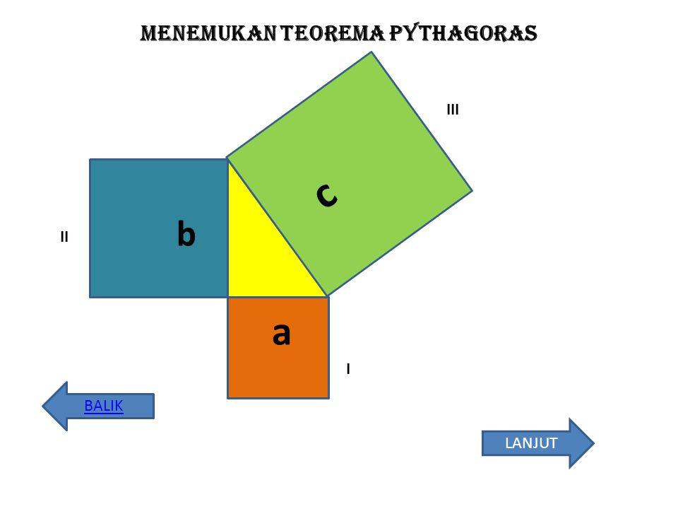 Menemukan teorema pythagoras a b c