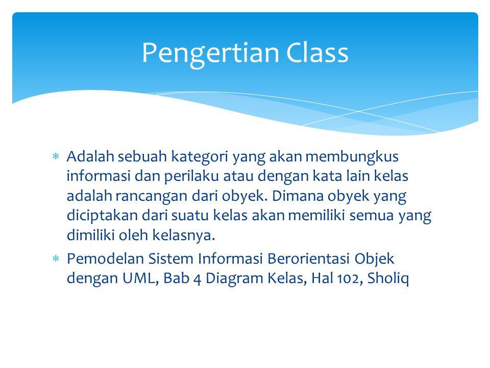  Adalah sebuah kategori yang akan membungkus informasi dan perilaku atau dengan kata lain kelas adalah rancangan dari obyek.
