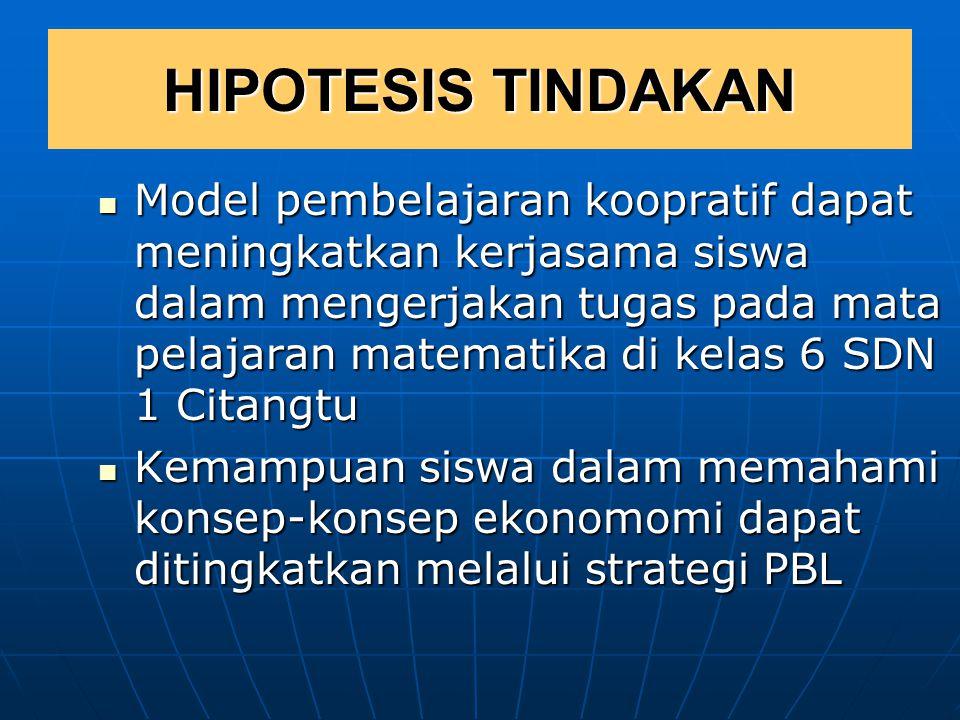 REFERENSI DALAM MERUMUSKAN HIPOTESIS TINDAKAN  Kajian teori pembelajaran dan teori pendidikan.