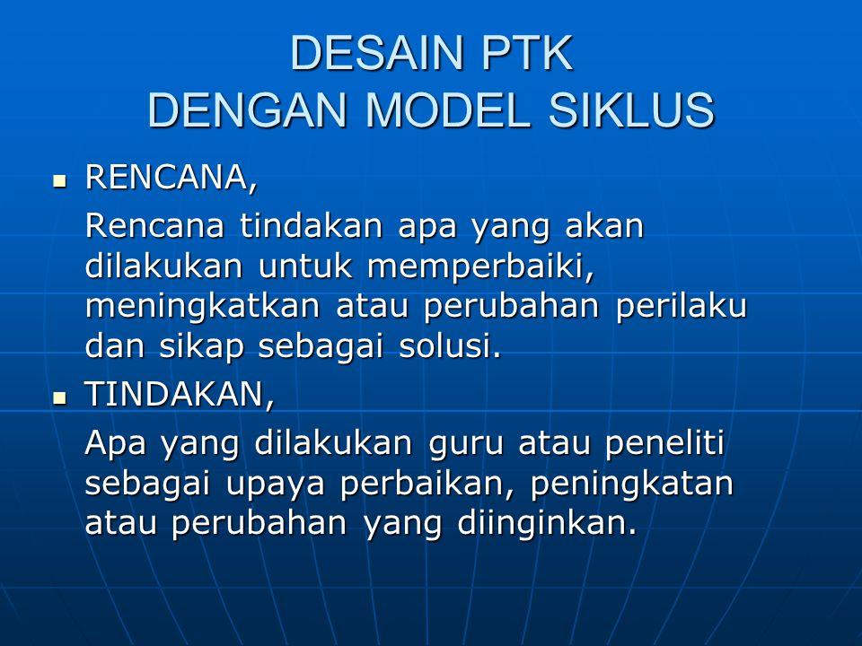 Lanjutan…(model siklus) OBSERVASI OBSERVASI Mengamati atas hasil atau dampak dari tindakan yang dilaksanakan atau dikenakan terhadap siswa.